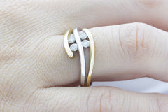 Bi Colour Three Strand Diamond 18K White & Yellow Gold Ring - OUT OF STOCK
