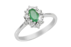 Emerald and Diamond Cluster 18K White Gold Ring