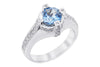 Blue Topaz and Diamond White Gold 18K White Gold Ring