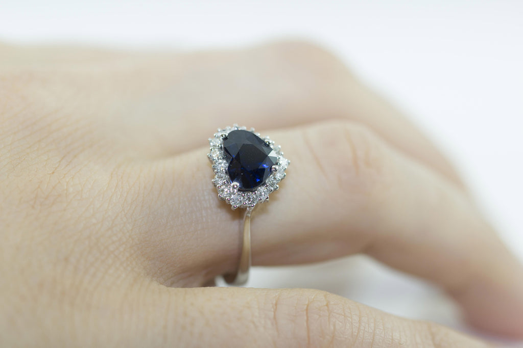 Heart Shaped Blue Sapphire and Diamond 18K White Gold Ring