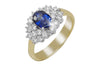 Blue Sapphire and Diamond Cluster 18K Yellow Gold Ring - OUT OF STOCK
