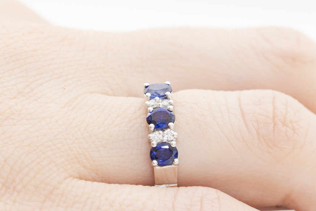 Blue Sapphire and Diamond 18K White Gold Ring