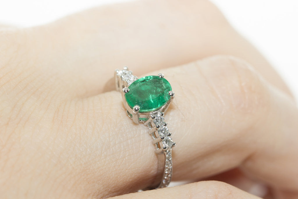 Emerald and Diamond 18K White Gold Ring