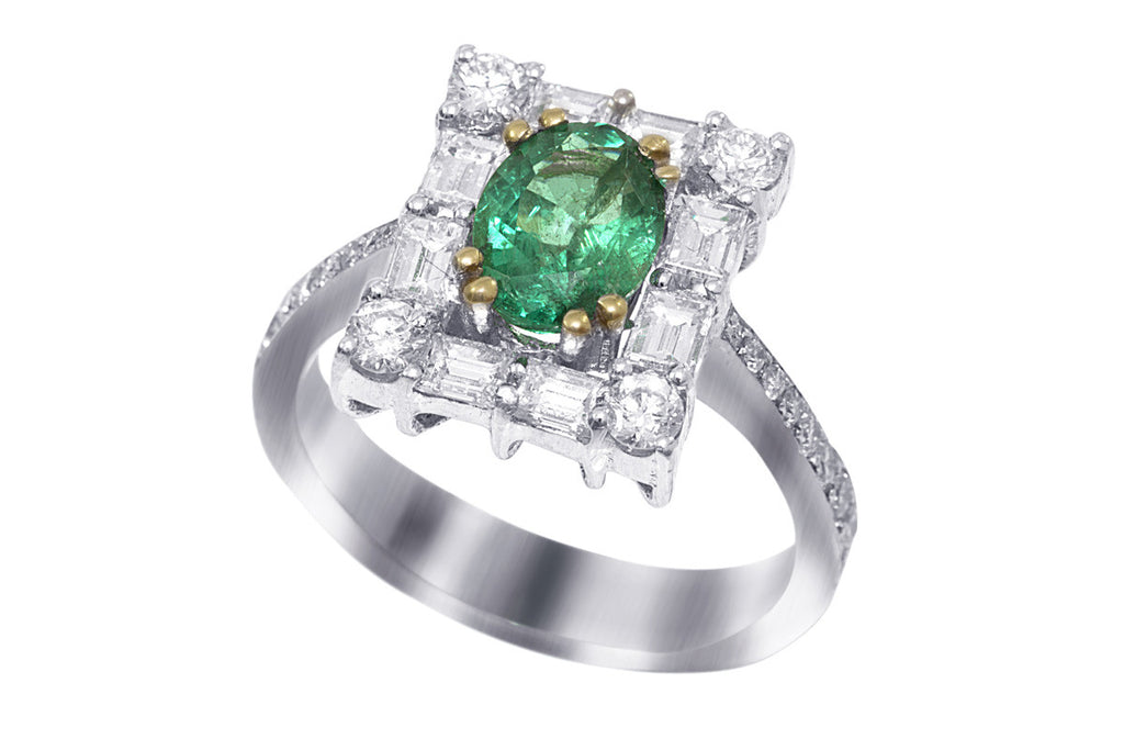 Emerald and Baguette Cut Diamond 18K White Gold Ring
