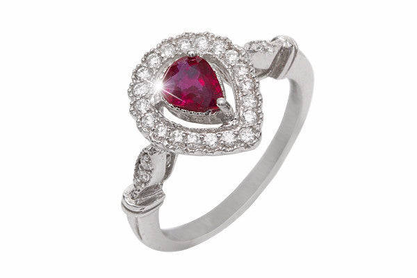 Pear Shaped Ruby and Diamond Halo 18K White Gold Ring