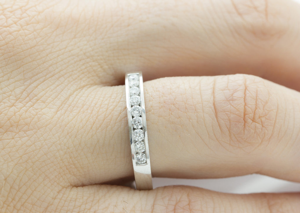 Channel Set Half Eternity Diamond 18K White Gold Ring - OUT OF STOCK