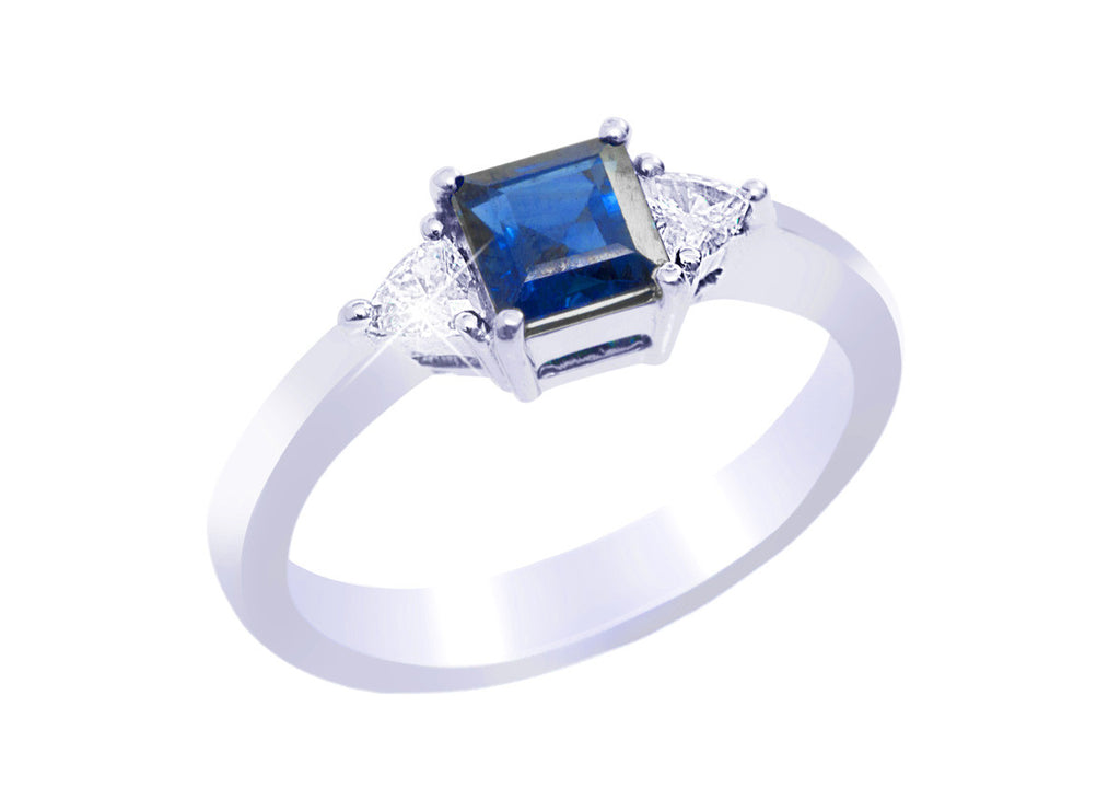 Princess Cut Blue Sapphire and Diamond 18K White Gold Ring - OUT OF STOCK
