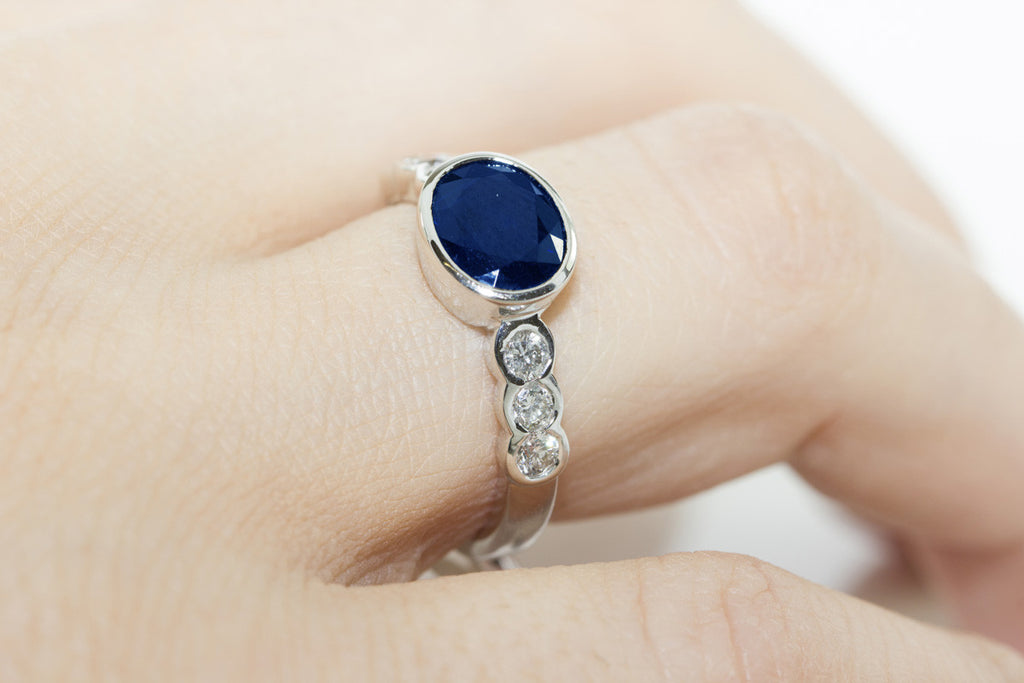 Rub-Over Horizontal Set Sapphire and Diamond 18K White Gold Ring - OUT OF STOCK
