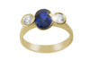 Blue Sapphire and Diamond Trilogy 18K Yellow Gold Ring - OUT OF STOCK