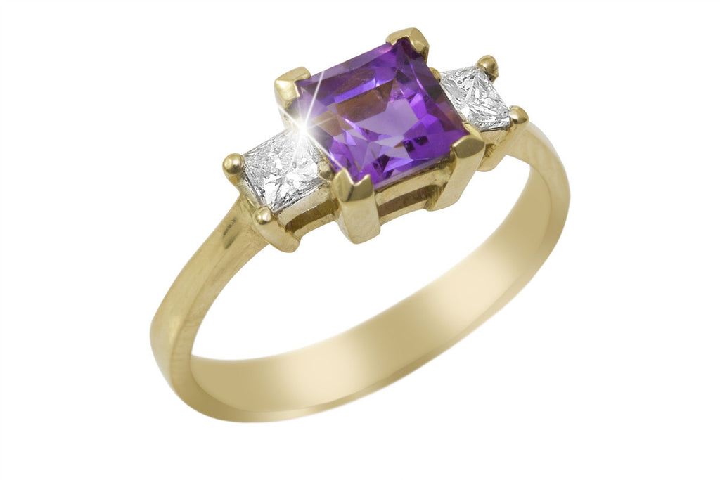 Princess Cut Amethyst and Diamond 18K Yellow Gold Ring - OUT OF STOCK