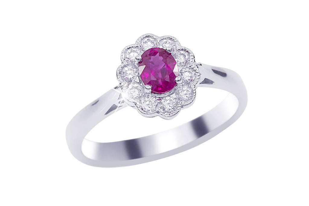 Ruby and Diamond Cluster 18K White Gold Ring