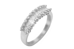 Channel Set Baguette and Round Cut Diamond 18K White Gold Ring