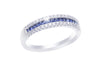 Blue Sapphire and Diamond Channel Set 18K White Gold Ring - OUT OF STOCK