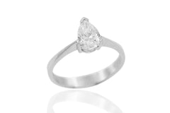 Pear Shaped Diamond Solitaire 18K White Gold Engagement Ring - OUT OF STOCK