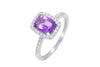 Amethyst and Diamond 18K White Gold Ring