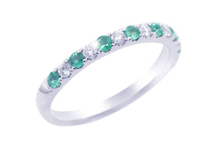 Half Eternity Emerald and Diamond 18K White Gold Ring