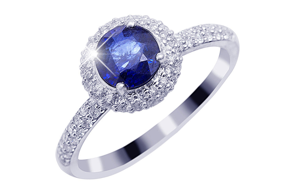 Blue Sapphire and Diamond Halo 18K White Gold Ring - OUT OF STOCK