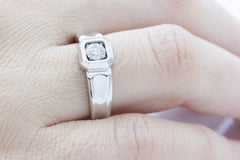 Wide Banded Diamond Solitaire 18K White Gold Ring - OUT OF STOCK