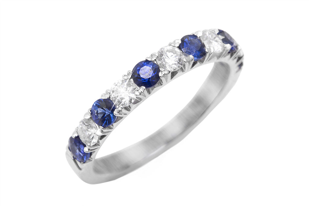 Half Eternity Blue Sapphire and Diamond 18K White Gold Ring - OUT OF STOCK