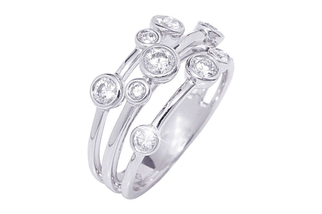 Three Roll Donut Diamond 18K White Gold Ring - OUT OF STOCK