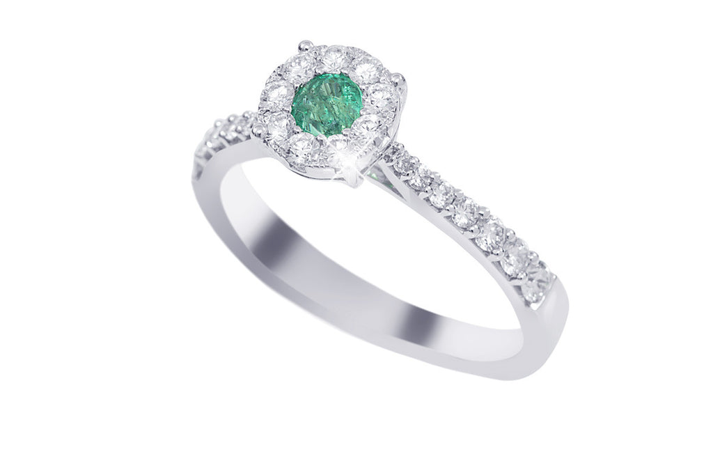 Round Shaped Emerald and Diamond 18K White Gold Ring - OUT OF STOCK