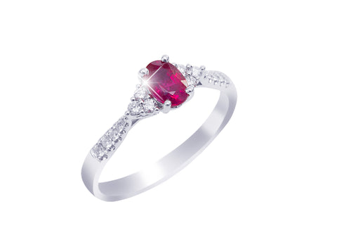 Ruby and Diamond 18K White Gold Ring - OUT OF STOCK