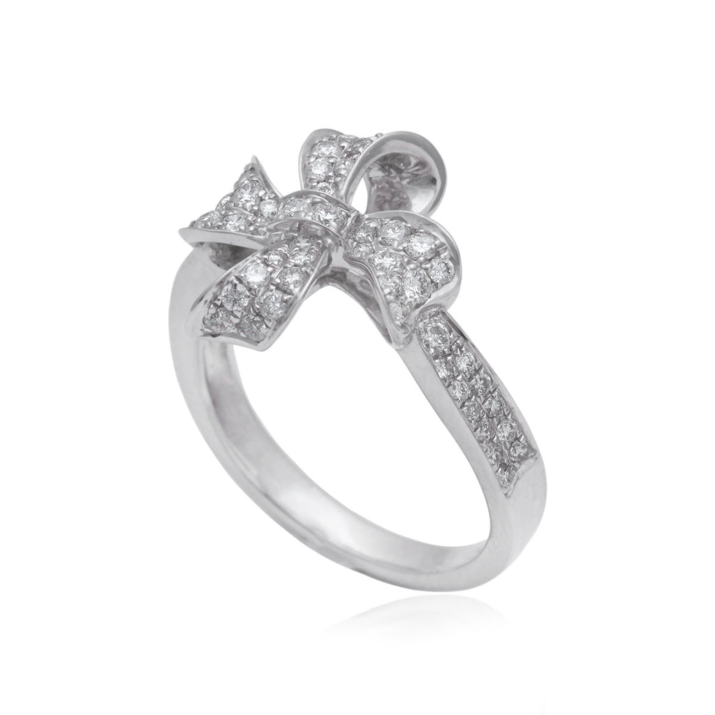 0.70 Carat Clover Design 18K White Gold Diamond Ring