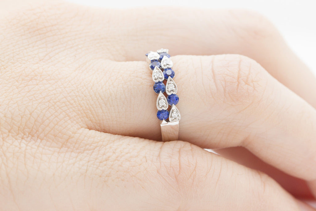 Two Roll Blue Sapphire and Diamond 18K White Gold Ring - OUT OF STOCK