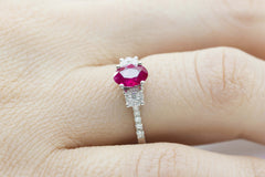 Ruby and Diamond Trilogy 18K White Gold Ring