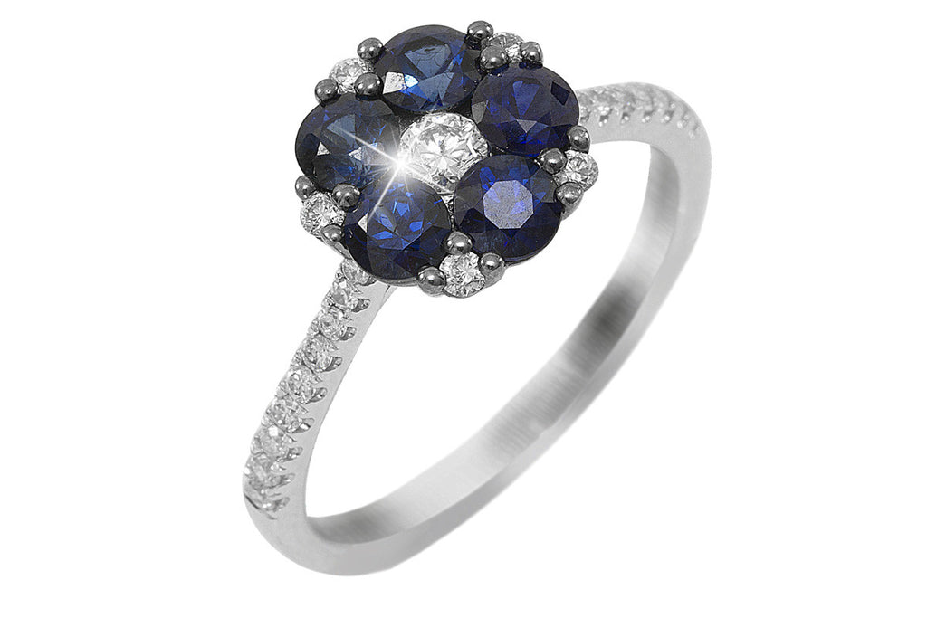 Blue Sapphire and Diamond Flower 18K White Gold Ring