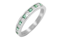 Half Way Channel Set Emerald and Diamond 18K White Gold Ring