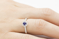 Blue Sapphire and Diamond Halo 18K White Gold Ring