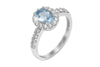 Aquamarine and Diamond Halo 18K White Gold Ring