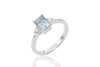Baguette Cut Aquamarine and Diamond 18K White Gold Ring