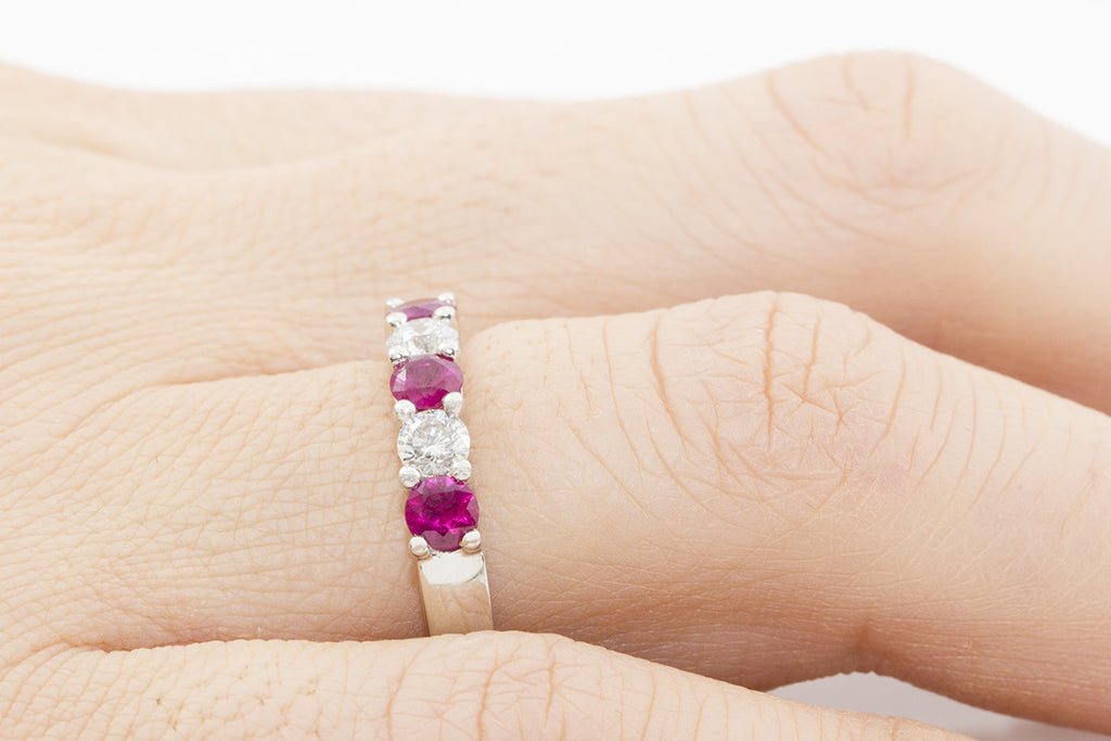 Five Stone Ruby and Diamond 18K White Gold Ring