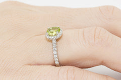 Peridot and Diamond Halo 18K White Gold Ring