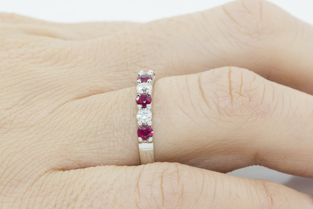 Ruby and Diamond Half Way 18K White Gold Ring - OUT OF STOCK