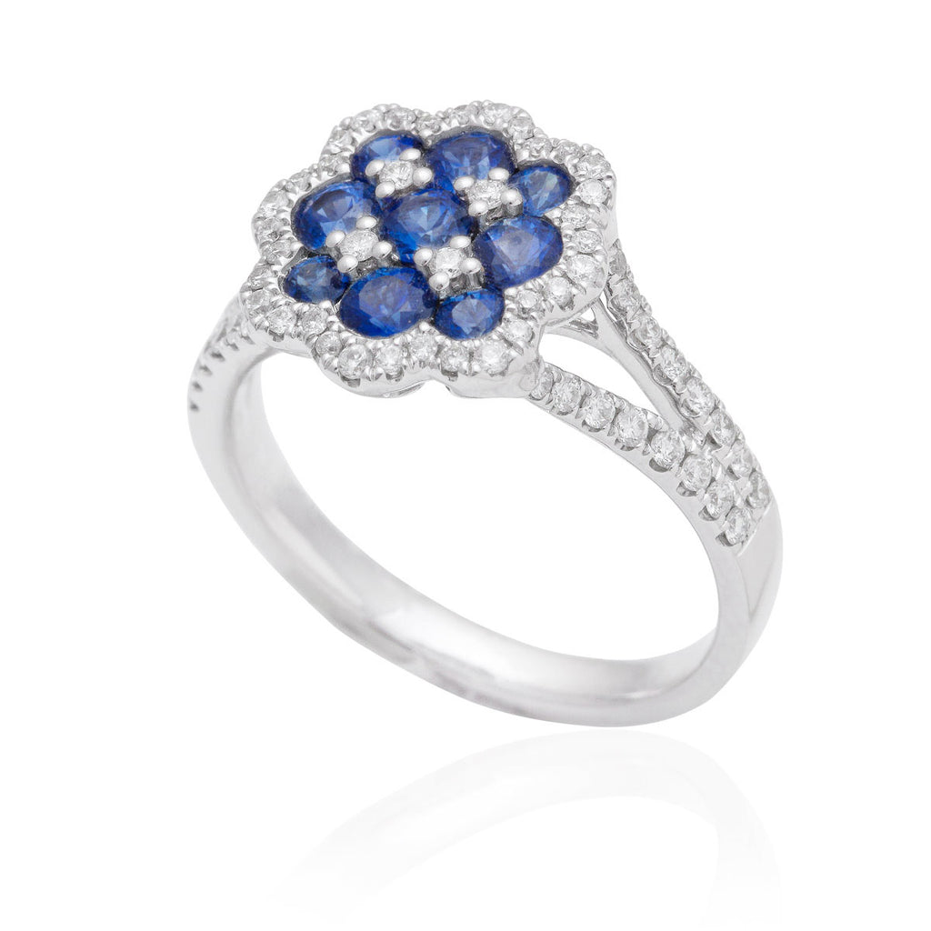 Blue Sapphire and Diamond Dress Ring 18K White Gold