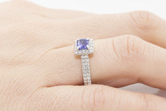 Amethyst and Diamond Halo 18K White Gold Ring - OUT OF STOCK