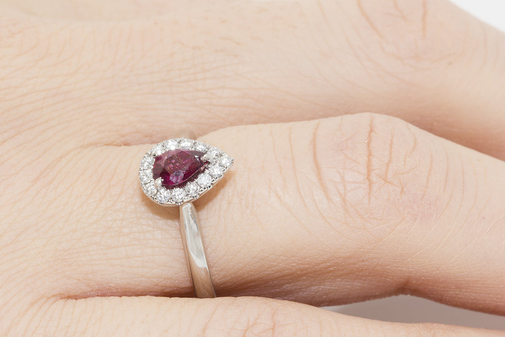 Almondite Garnet and Diamond 18K White Gold Ring - OUT OF STOCK