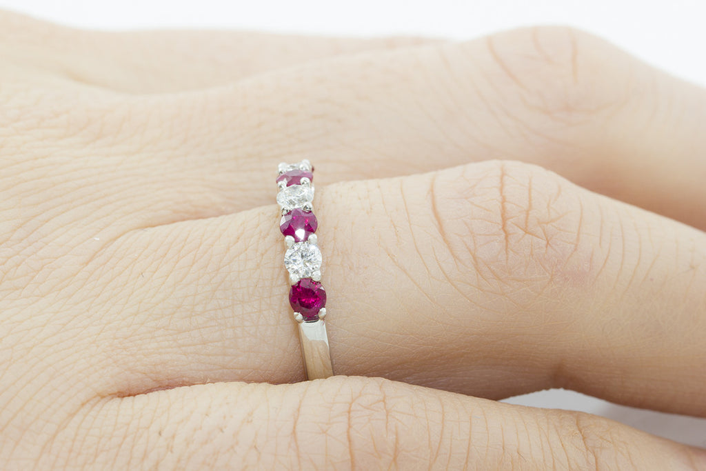 Seven Stone Ruby and Diamond 18K White Gold Ring - OUT OF STOCK
