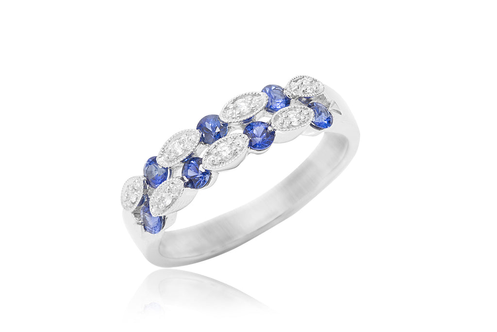 Two Row Blue Sapphire and Diamond 18K White Gold Ring