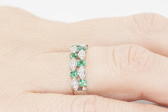 Two Row Emerald and Diamond 18K White Gold Ring - OUT OF STOCK