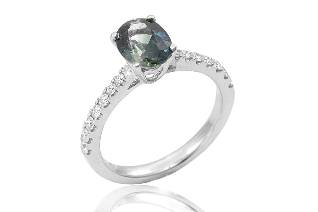 Blue-Green and  Diamond 18K White Gold Ring