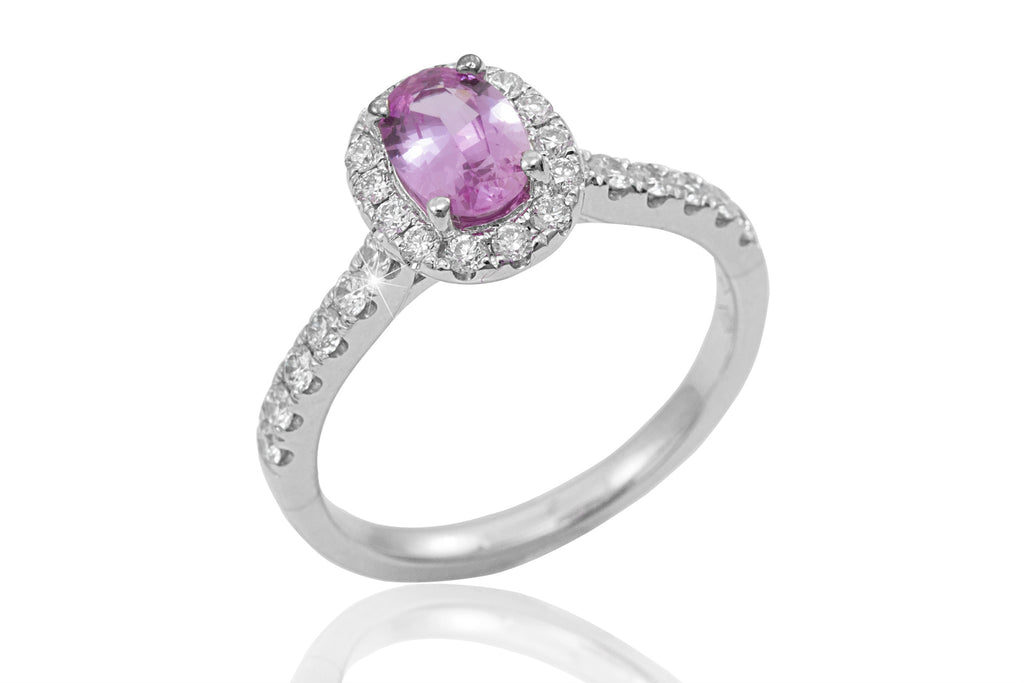 Pink Sapphire and Diamond Halo 18K White Gold Ring - OUT OF STOCK
