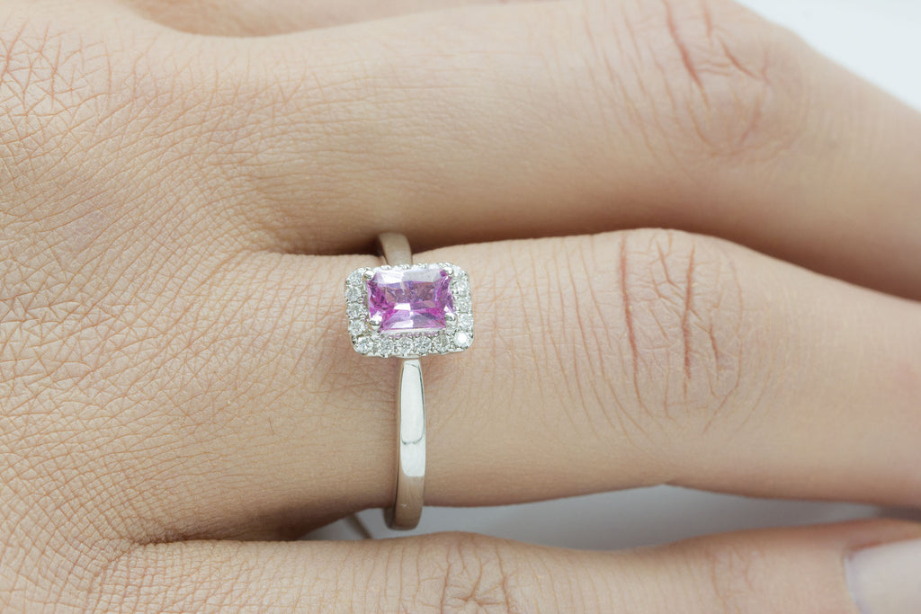 Pink Sapphire and Diamond Halo 18K White Gold Ring