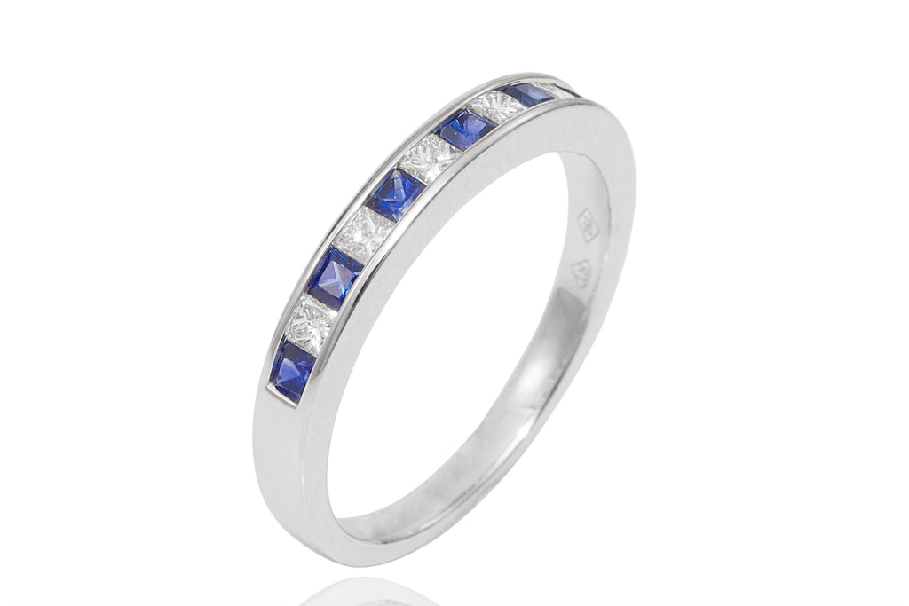 Blue Sapphire and Diamond Half Eternity 18K White Gold Ring - OUT OF STOCK