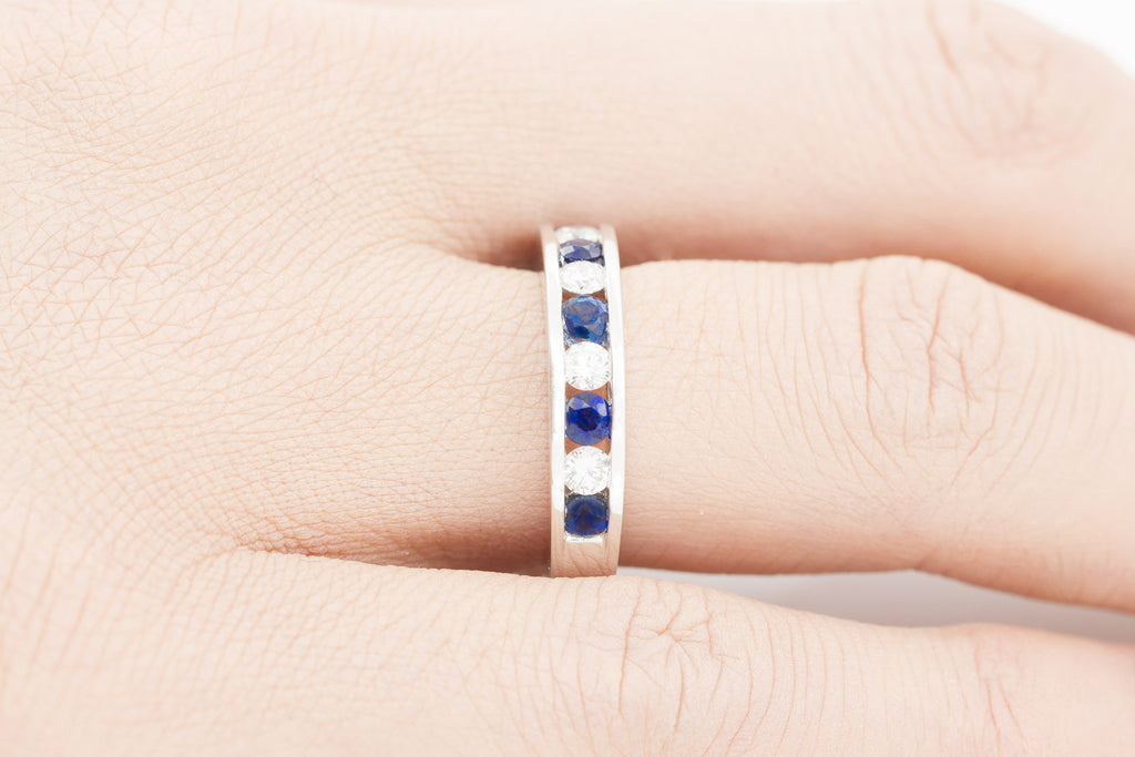 Blue Sapphire and Diamond Round Cut  Half Eternity 18K White Gold Ring