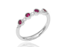 Vintage Look Ruby and Diamond 18K White Gold Ring - OUT OF STOCK