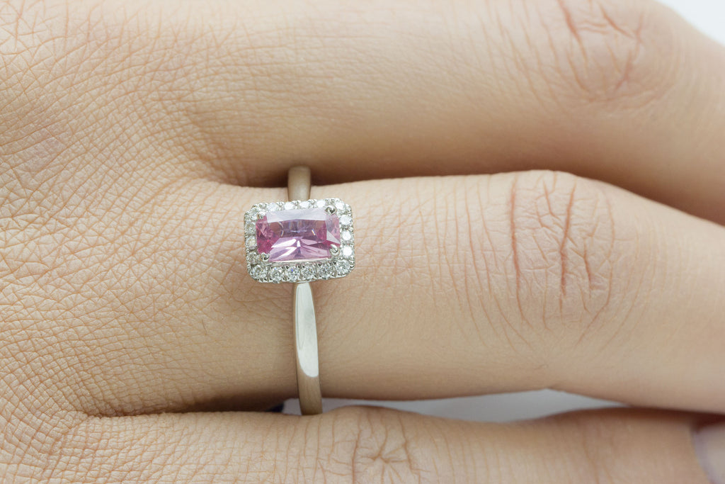 Pink Sapphire and Diamond Square Halo 18K White Gold Ring - OUT OF STOCK